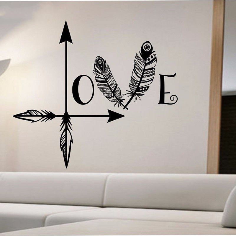 beautiful arrow feather love wall decal namaste vinyl. Black Bedroom Furniture Sets. Home Design Ideas