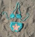 2015 nueva ganchillo del verano del bebé photoshoot pequeño bebé sujetador con la cubierta del pañal set chicas summer swimsuit girl photo props