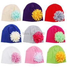 Children Accessories Chiffon Flower Baby Hat Newborn Girl Cotton Beanie Infant Spring Hat 12 Colors 0-3 months