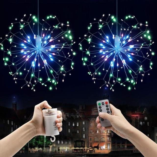 2019 New Year Christmas Garland DIY Firework String Hanging Starburst  Copper Fairy Strip Light 100LED Outdoor Wedding Party Home