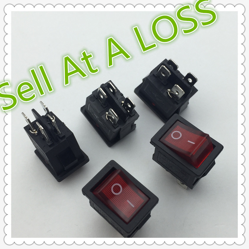 5pcs/lot 15*21mm LED Light SPST 4PIN ON/OFF G121 Boat Rocker Switch 6A/250V 10A/125V Car Dash Dashboard Truck RV ATV Home 10pcs lot ac 6a 250v 10a 125v red light 3 pin on off spst snap in boat rocker switch g205m best quality
