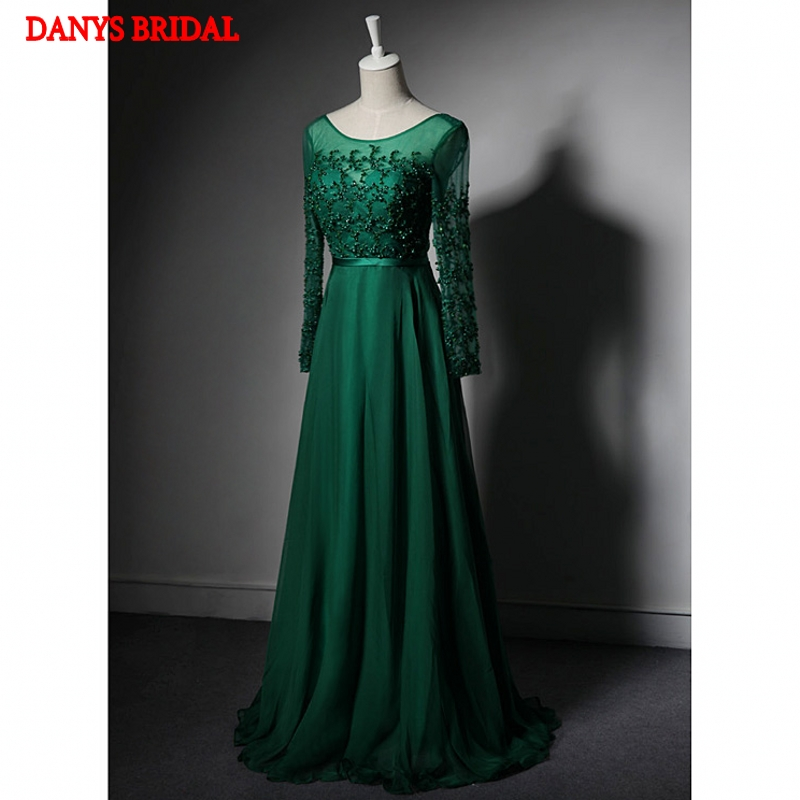 Emerald Green Mother Of The Bride Dresses For Weddings Long Sleeve Evening Gowns Beaded Formal Groom In
