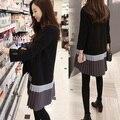 4xl más el tamaño grande de las mujeres ropa 2016 primavera otoño invierno coreano vestidos Nuevo vestido de manga larga floja delgada femenina A2072