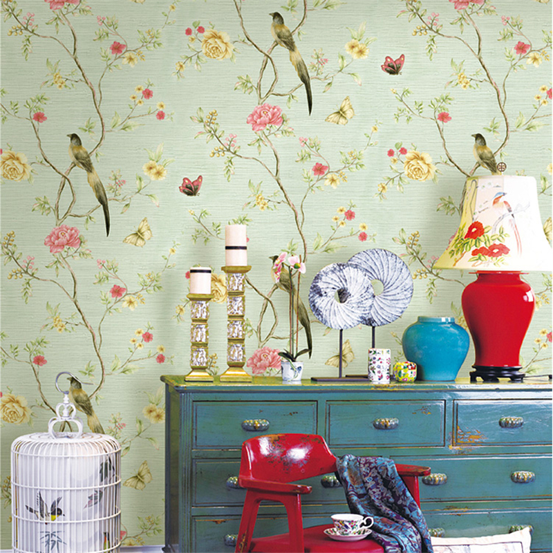 beibehang Chinese flowers and birds pastoral flower wallpaper American living room bedroom background wallpaper linen wallpaper the hermitage birds and flowers