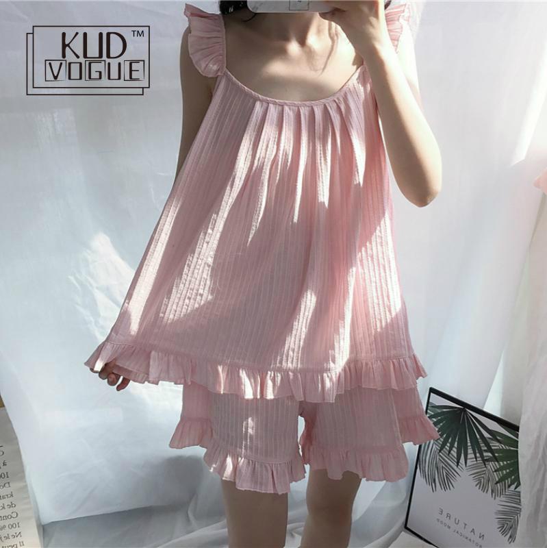 2019 Cute Sweet Solid 3 Colors Vintage Homewear   Pajamas   Women Girls   Pajama     Set   Elastic Waist Shorts Cotton Lounge Pyjamas 8446