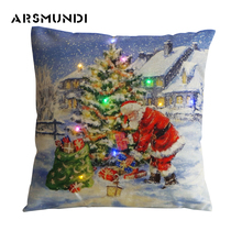 Fashion Home Use LED Flax Decorative Pillowcase Printed Woven Christmas Pillowcase Snowman Simple Pillow Case 450mm*450mm simple rhombus pattern square shape flax pillowcase without pillow inner