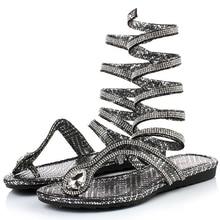 2017 Summer Sandals Women Bohemia Rhinestone Flats Shoes Rom