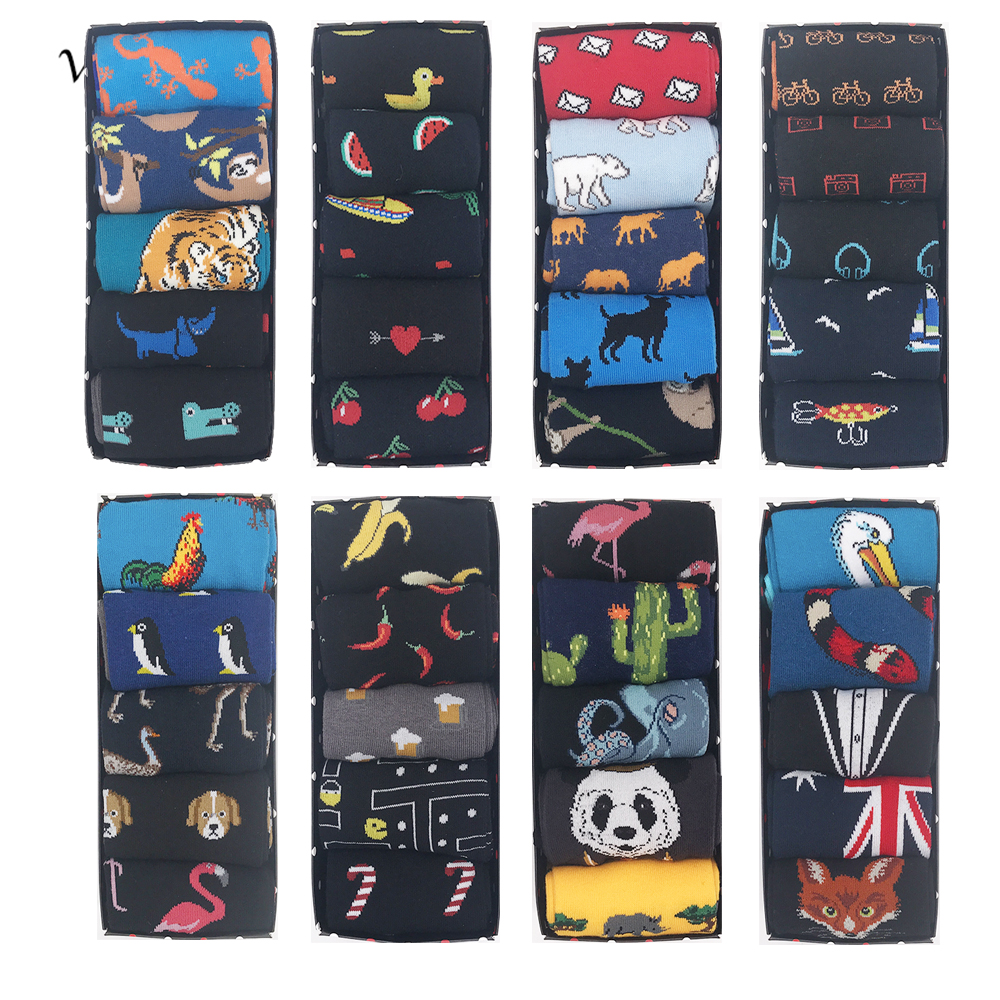 VPM 50 Color Mens Socks Big Size Funny Happy Harajuku Alien Business Wedding Party Dress Christmas for Men Gift Box 5 Pairs/Lot
