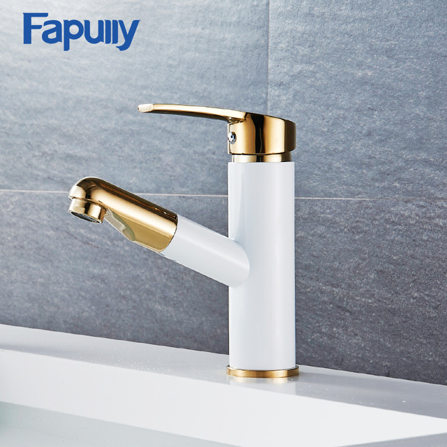 Fapully Luxury Gold Bathroom Faucets Pull Out Brass Basin Mixer ...