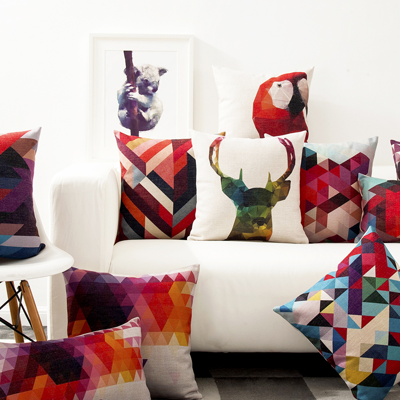 Colorful Pillows For Sofa: Scandinavian Style Decorative Sofa Pillow Geometric