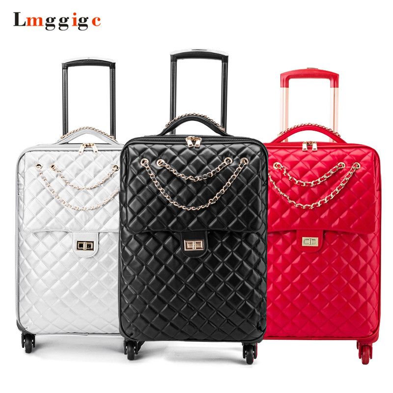Women Leather Suitcases ,Girl's Wheel Travel Luggage Bag,Trolley Box With Rolling,20