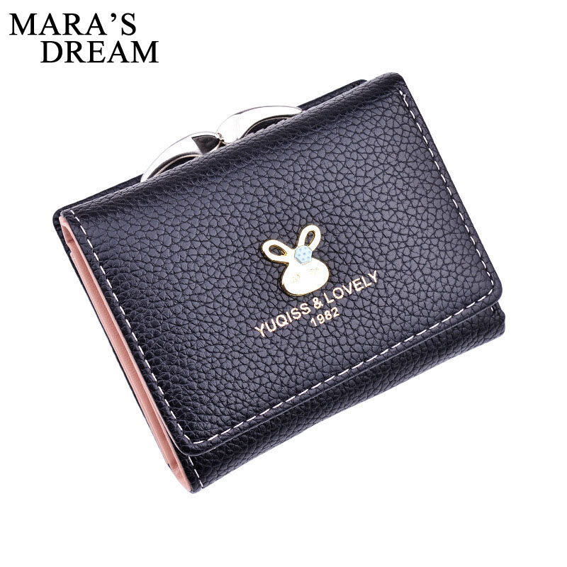 Mara's Dream Rabbit Pattern Short Clutch Wallet Solid Hasp Fashion Small Female Purse PU Leather Short Purse Women Cute Wallet 2087 women new fashion long hasp wallet cute purse for juniors flower pattern design magnetic snap closure credit store