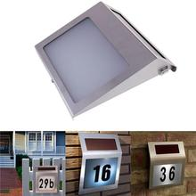 Led Sensor Solar Light Stainless Steel Solar Powered 3 LED Illumination Doorplate