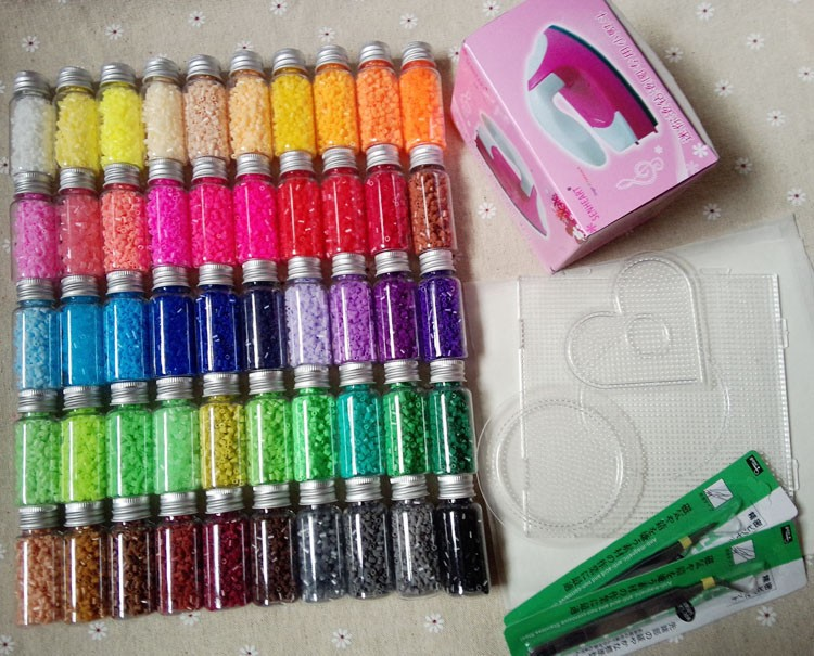 2 6mm Hama Beads Perler Beads Fuse Beads Set of 50 Color 31000pcs 3 Template 5