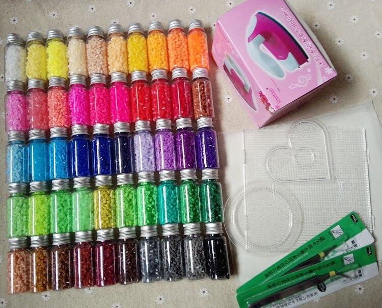 Perles Hama 2.6mm ~ perles Perler fusible ~ lot de 50 couleurs 31000 pièces + 3 modèle + 5 papier de fer + 2 pincettes, bricolage artisanat pour enfants