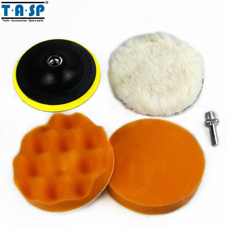 TASP 125mm Polishing Pad Buffing Pad Set with Drill Adaptor M14 for Car Polisher 7pcs set car polishing buffing pad high quality m10 thread drill auto polisher set sponge hot sale