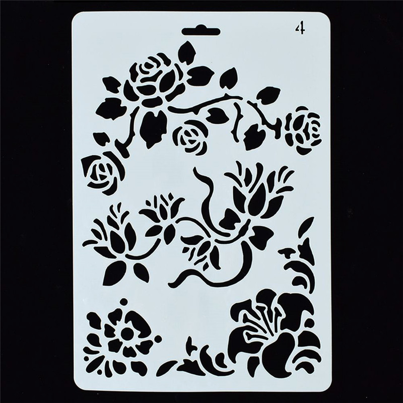 1Pcs Reusable Rose Hollow Flower Stencil DIY Airbrush Painting Art Drawing Manual Painting Board Template Stencil Free Shipping