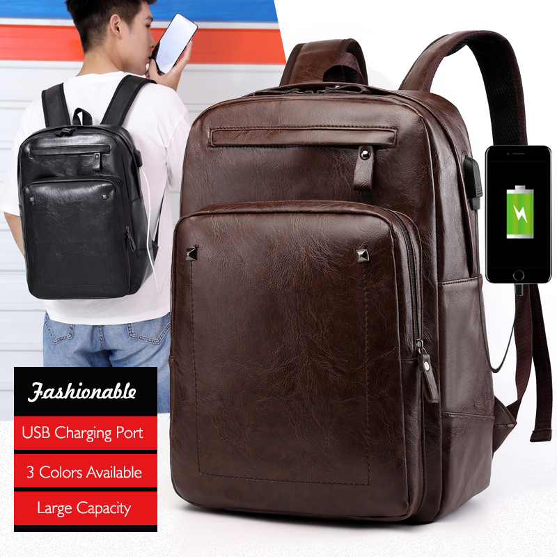 Multifunction USB Charging Men <font><b>15.6</b></font> inch <font><b>Laptop</b></font> <font><b>Backpacks</b></font> For Man New PU Leather Male Mochila Travel <font><b>Backpack</b></font> Anti-thief Bagpack image