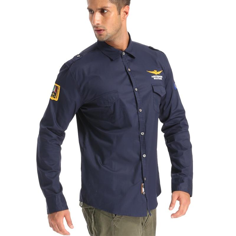 2017 Mode Lässig Hemd Air Force One Männer Hemd Langarm Slim Fit Aeronautica Männer Kleid Shirt Männer Der Stickerei Hemd