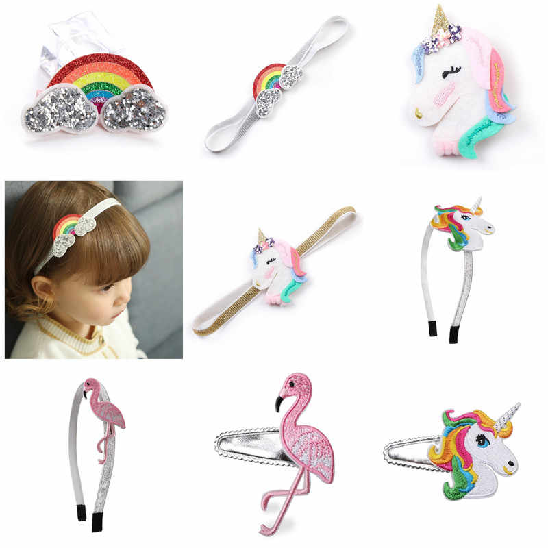 1pc Retail Embroidery Pink Flamingo Bird Hair Clips Rainbow Unicorn Snap Haipin Cartoon Animal Girl Headband Animation Barrette
