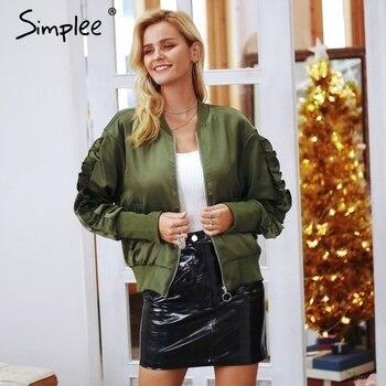 Simplee Basic army green bomber jacket coat women Satin lace up pocket biker jacket outerwear Autumn winter casual streetwear bomber jacket and shorts women
