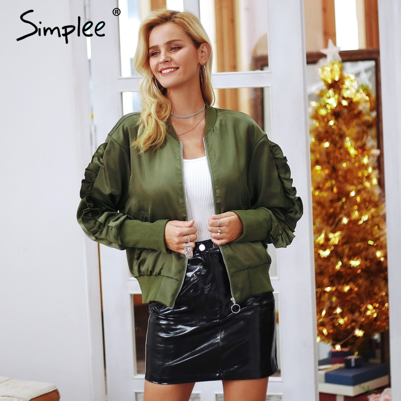 Simplee   Basic   army green bomber   jacket   coat women Satin long sleeve pocket biker   jacket   outerwear Autumn casual streetwear