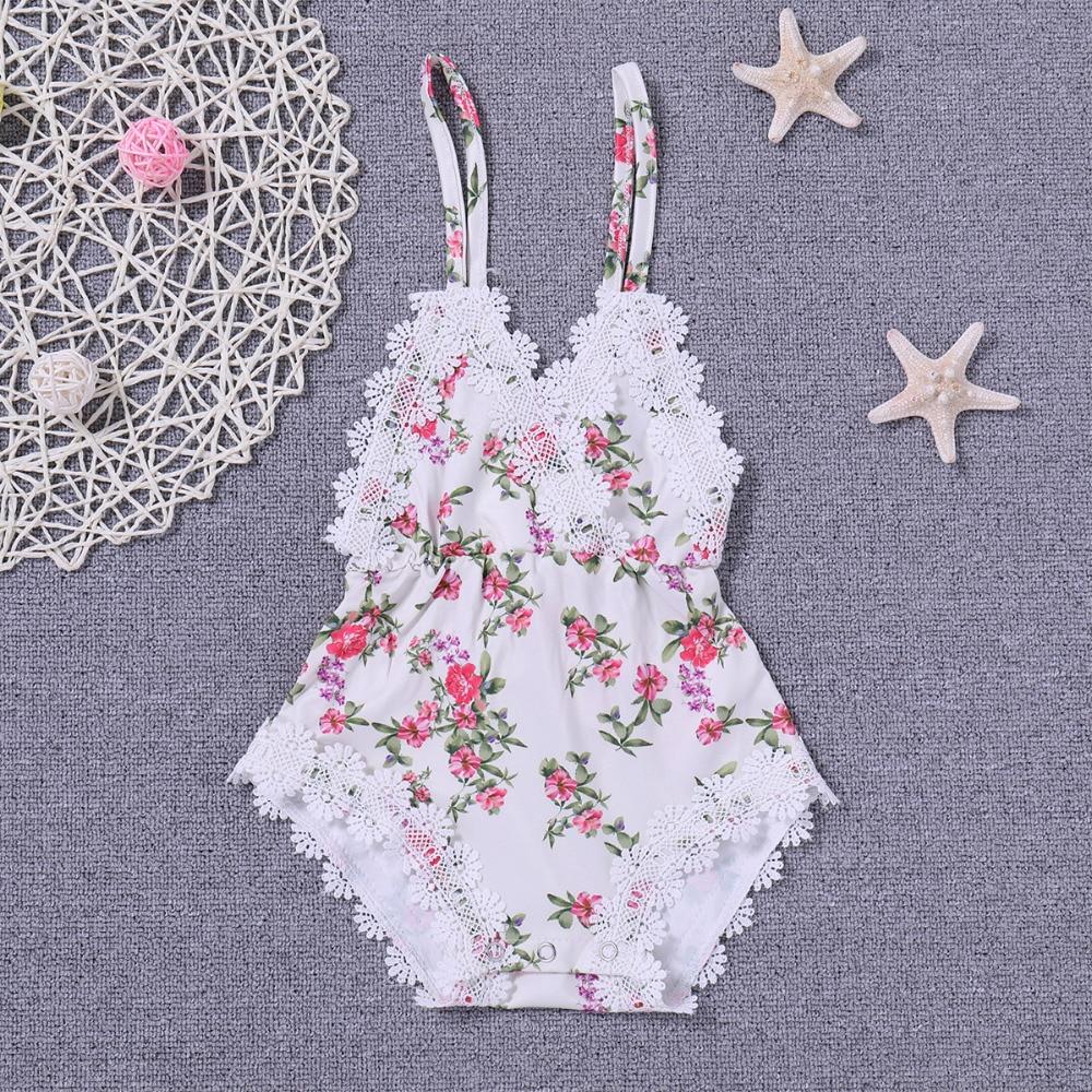 Newborn Kids Baby Girls Clothes Floral Outfits Set Lace Jumpsuit Romper Playsuit