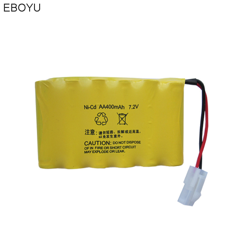 EBOYU 7.2V 400mAh Rechargeable Ni-cd AA Battery Pack 5559 2P Plug for Huanqi 516 558 RC Tank 538 RC Car And Other RC Toys ewellsold 2pcs lot 4 8v 700mah ni cd aa battery for rc car