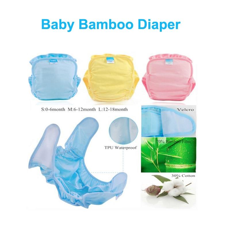 1 PC bambu popok dapat digunakan kembali, Popok kain baru lahir, Insert bernapas pelatihan bayi celana dapat digunakan kembali, Ml lembut popok sekali pakai