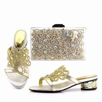 Wonderful silver crystal women kitten heel shoes with peacock feather design african shoes match handbag set for dress JX2855