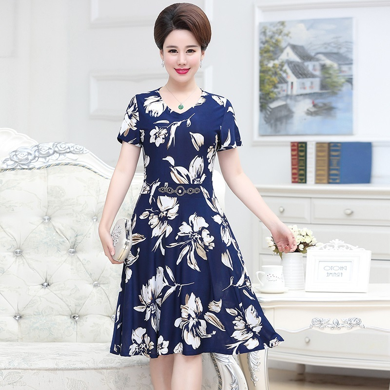Middle Aged Women Summer Dress Fashion V Neck Slim Short Sleeve Floral Print Party Dresses Vestidos Plus Size 5XL in Dresses from Women 39 s Clothing