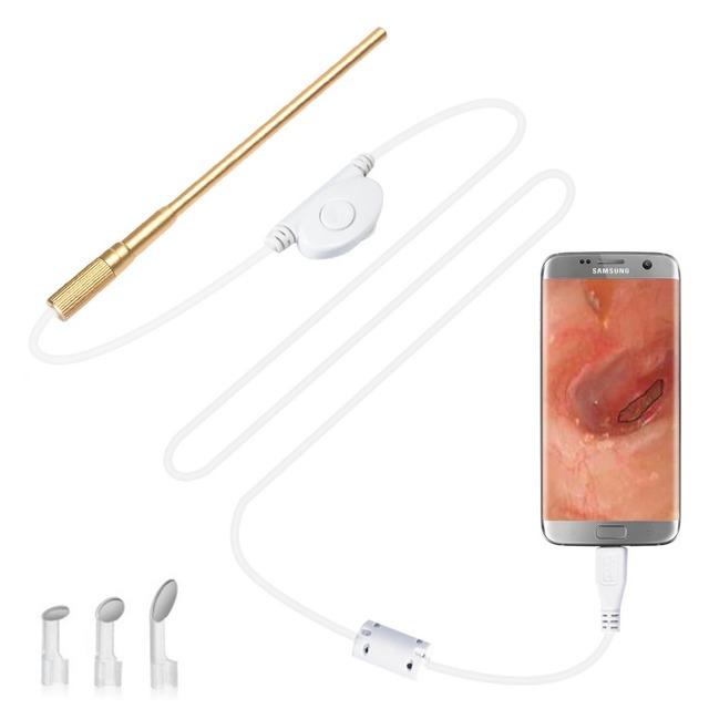 Cuidado da orelha médica otoscópio endoscópio endoscópio 0.3mp com zoom micro usb otg android telefone/laptop endoscopio mini câmera de cobra