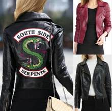 Fashion ladies Riverdale PU Printed Southside Riverdale South Side Serpents Leather Jackets Women Streetwear Tops Leather Jacke(China)
