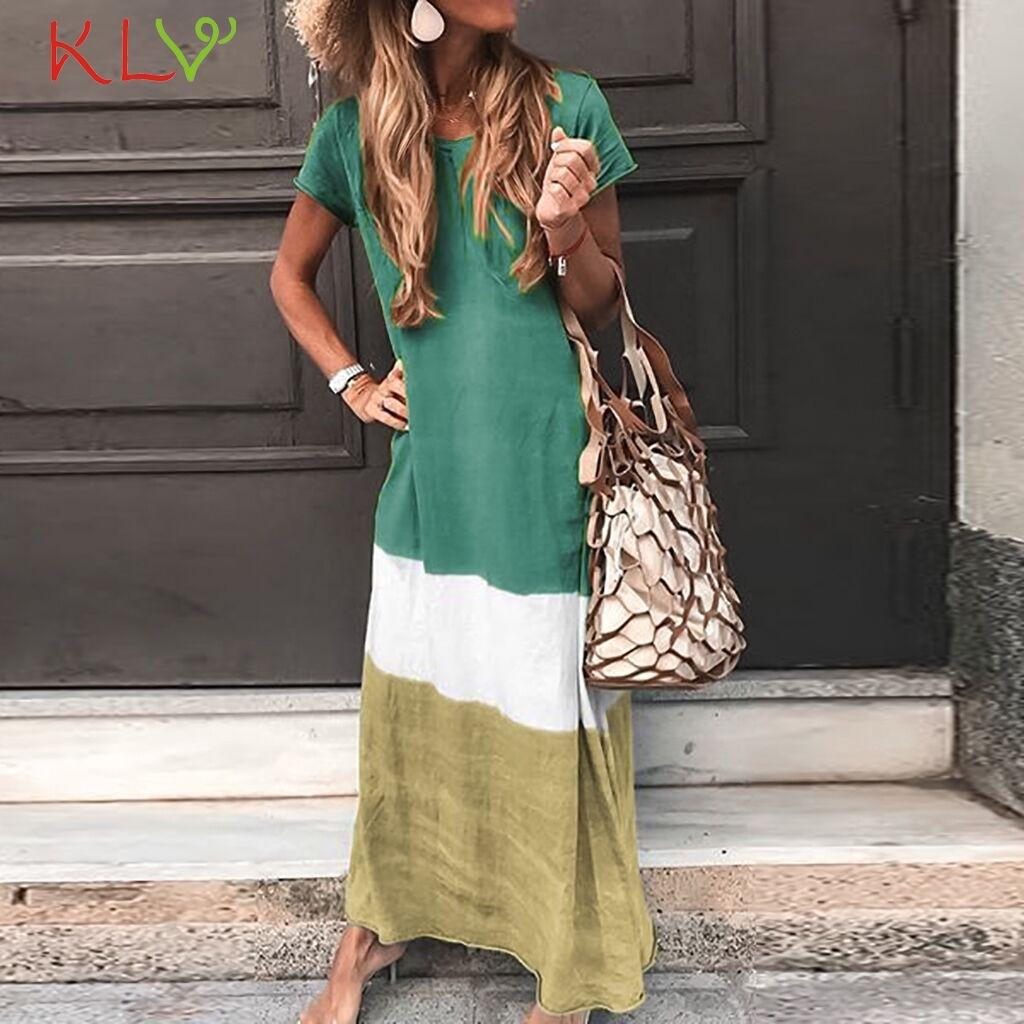 Dress Women strand jurkjes Color Block Beach Boho Elegant Summer Long Dress Plus Size Party Night 2019 Vestidos Robe Femme 19Jun