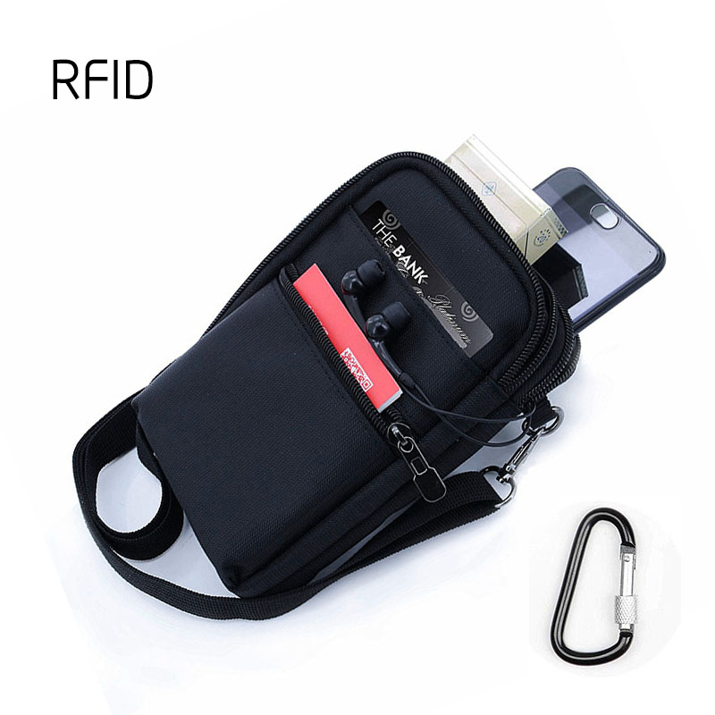 RFID Blocking Card Holder Passport Neck Bag Travel Wallet Shoulder Pouch Crossbody Bags With Carabiner Waist Pack 17.5x11.7cm