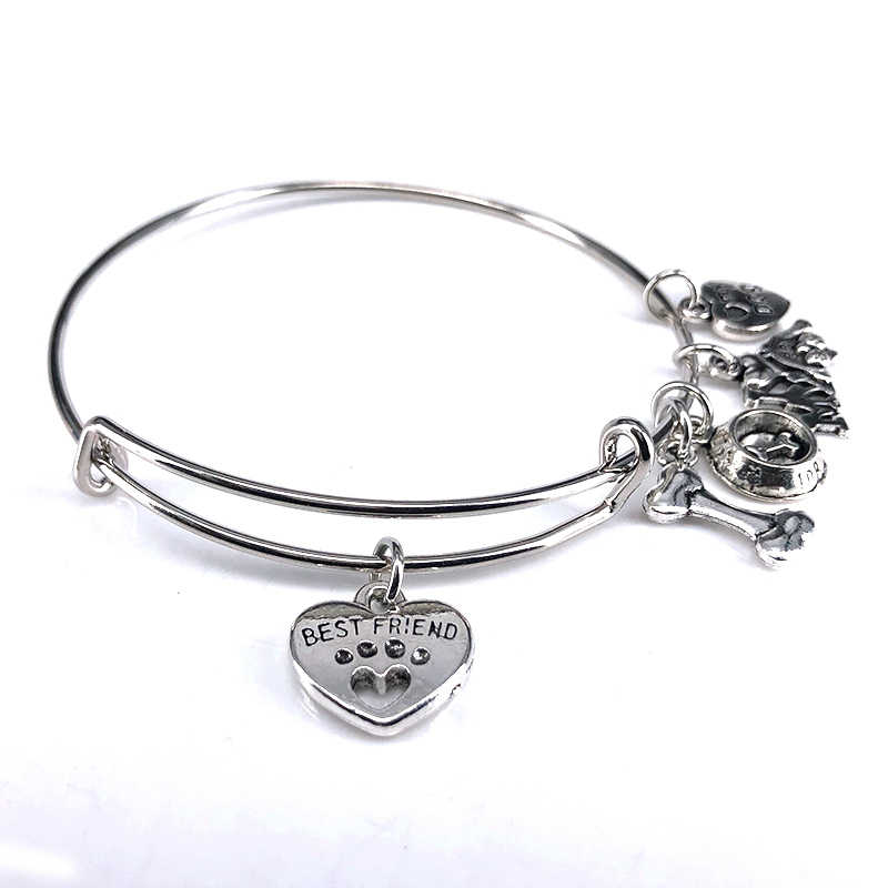 חדש לחיות מחמד תכשיטי כפות כלב טביעת רגל עצם כלב אגן קסם צמידים לנשים תכשיטים לחיות מחמד אוהבי מתנה B18104