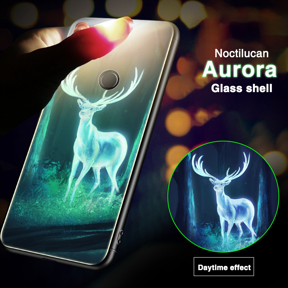 Luminous glass case For Xiaomi Mi A2 Lite Case Redmi Note 5 Pro 5 Plus 6A 6 Pro Note 4X 4 Case Cover Fashion Luxury Coque Etui redmi note 7 pro cover