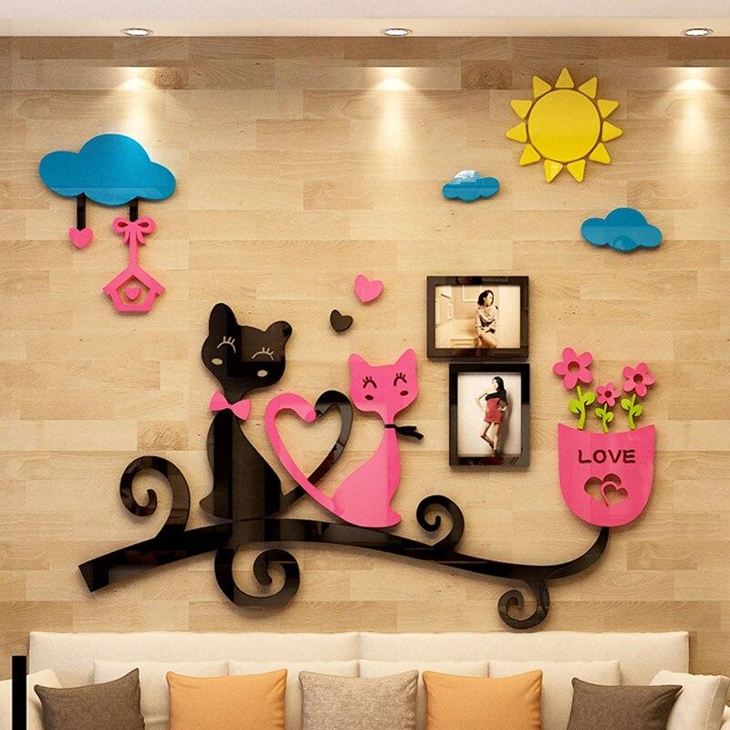 Romantique Kitties amant Design acrylique autocollants personnalisé autocollant bricolage salon enfants chambre décoration murale