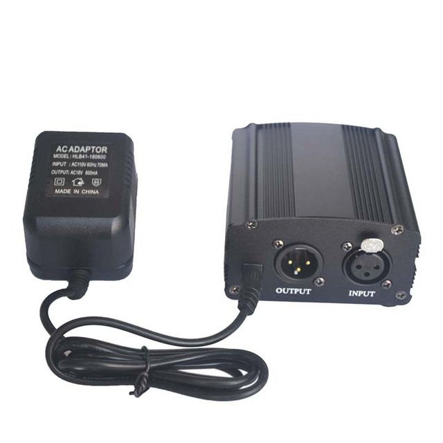 US Standard Adaptor 110V 1-Channel 48V Phantom Power Supply+Adapter for Any Condenser Microphone Recording