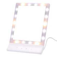 Touch Screen Makeup Mirror 18 LED Lighted Cosmetic Mirror Make Up Tabletop  Mirror 90 Rotating Makeup LED Mirror With USB Cable