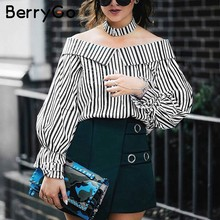 BerryGo Long sleeve blouse shirt women tops 2017 summer chemise femme casual blusas Off shoulder top striped shirt with choker(China)