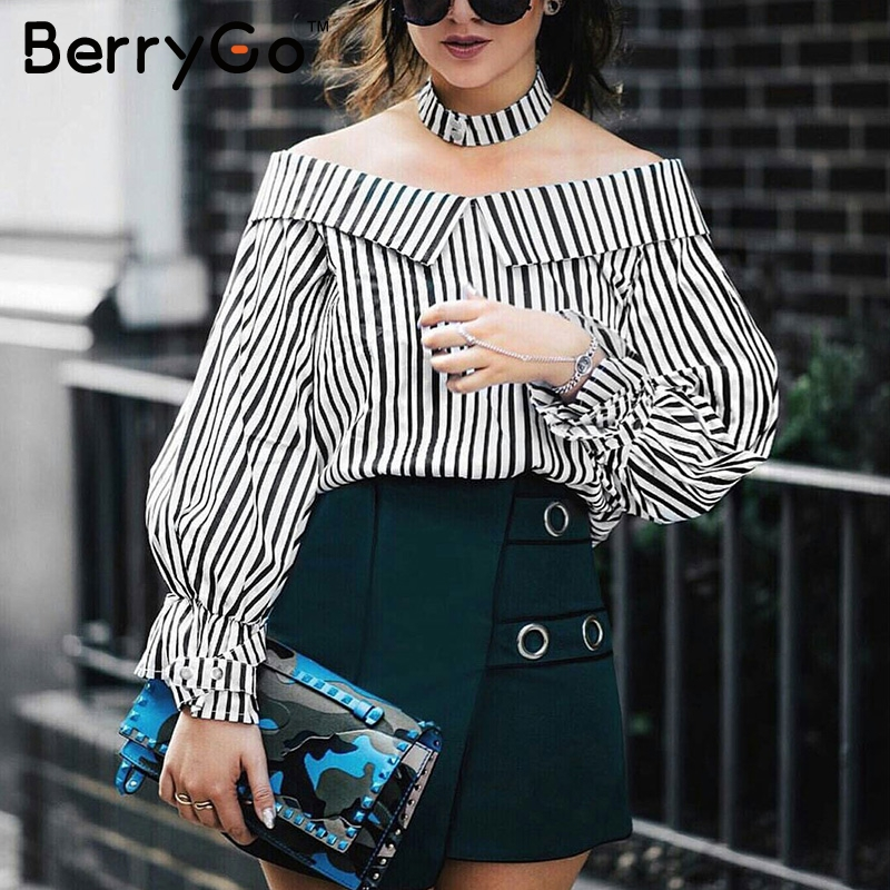 BerryGo Long sleeve   blouse     shirt   women tops 2017 summer chemise femme casual blusas Off shoulder top striped   shirt   with choker