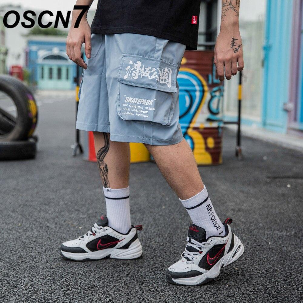 OSCN7 Casual Hip Hop Streetwear Print Loose Cargo   Shorts   Men 2019 Summer Fashion High Street Bermuda   Short   Pants Men 1905