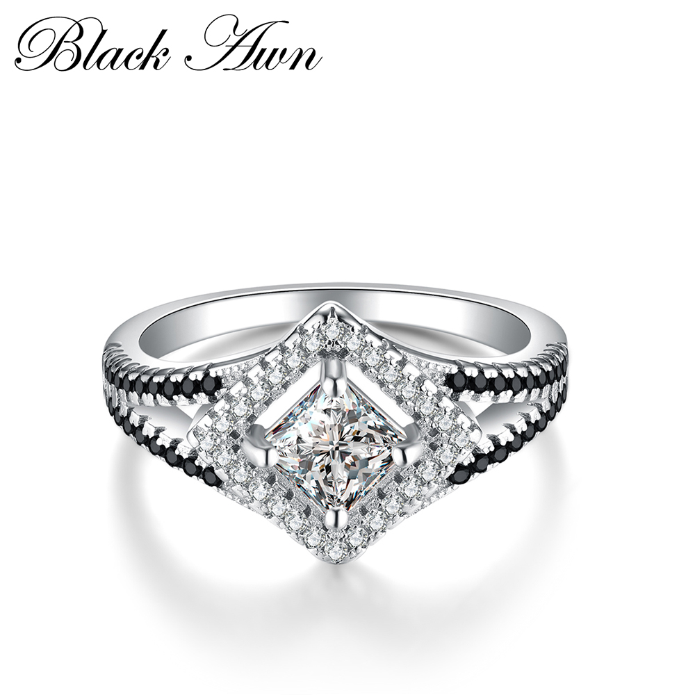 [BLACK AWN] Valódi 100% -os 925 Sterling Ezüst Eljegyzési Gyűrűk - Finom ékszerek