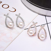 Jewelry New Brand Design Gold Silver Color Pearl Stud Earrings For Women 2018 New Accessories Wholesale(China)