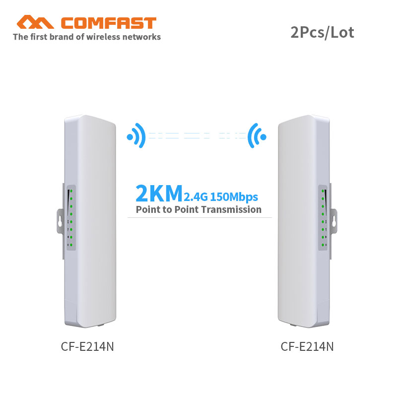 2pcs COMFAST CPE/Network Bridge/Repeater/WIFI signal booster Amplifier point to point transmission 2KM antenna wifi base station 2pcs 5 8g 300mbps cpe wifi signal booster amplifier network bridge 2 14dbi antenna wi fi access point nanostatio for ip camera