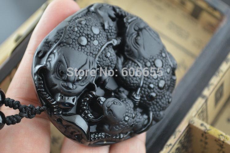 1 pc grande taille obsidienne noire naturelle pierre sculptée Pixiu argent pendentifs noir perles rondes chaînes collier bijoux de mode