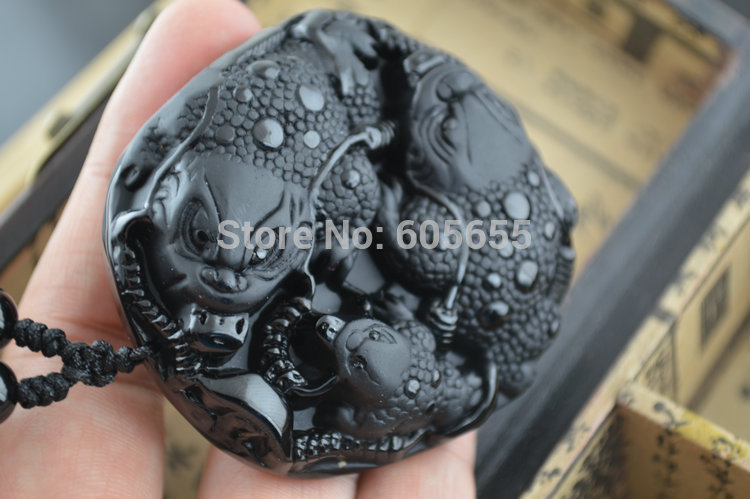 1pc Big Size Natural Black Obsidian Stone Carved Pixiu Money Pendants Black Round Beads Chains Necklace Fashion Jewelry natural jade black pendant women jewelry pendants black obsidian handmad carved chinese charm necklace fashion hand carved gift