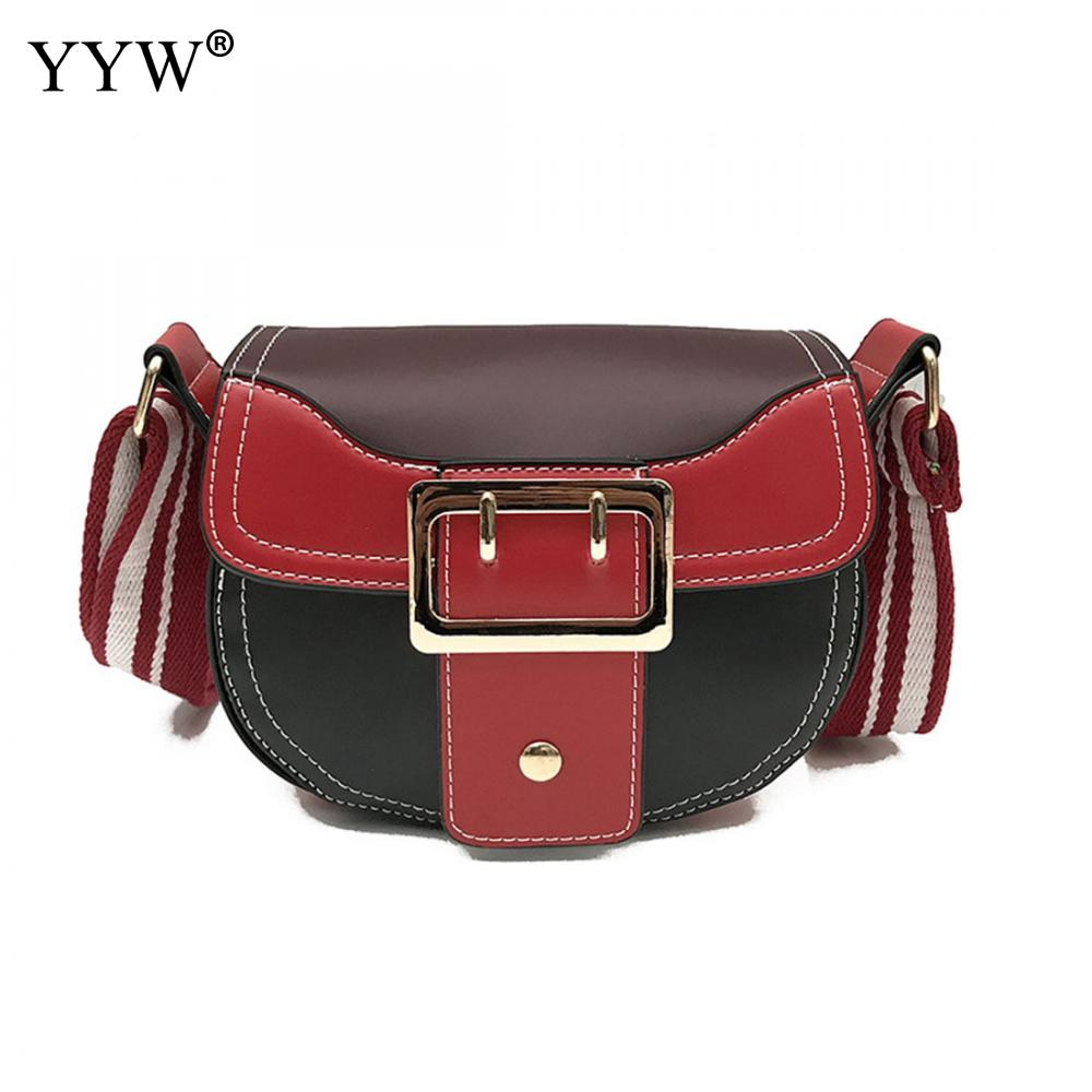 YYW Wholesale Small Women Crossbody Bag Leather Shoulder Bag Lot Contrast Color Purse Clutches Brand Striped Wide Straps Bolsos