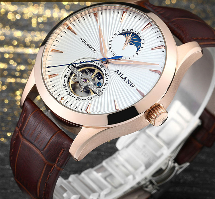 Brand AILANG Men Classic Tourbillon Automatic Watches Self Winding Real Leather Wrist watch Moon Phase Dress Relojes Analog W004Brand AILANG Men Classic Tourbillon Automatic Watches Self Winding Real Leather Wrist watch Moon Phase Dress Relojes Analog W004